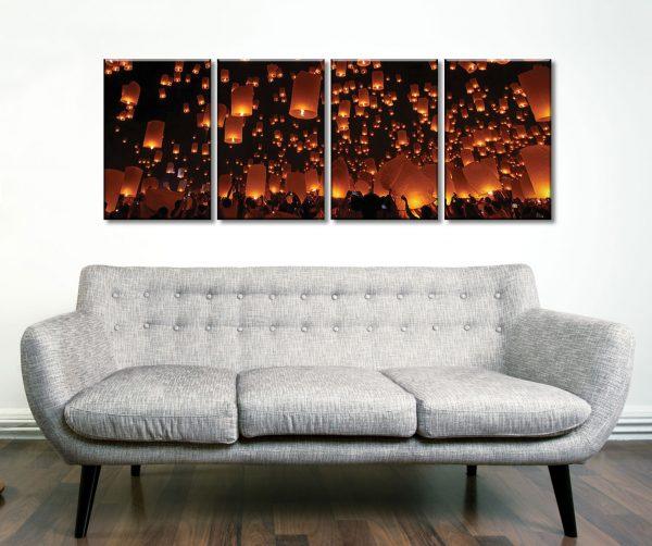 Floating Lanterns 4 Panel Best Canvas Prints