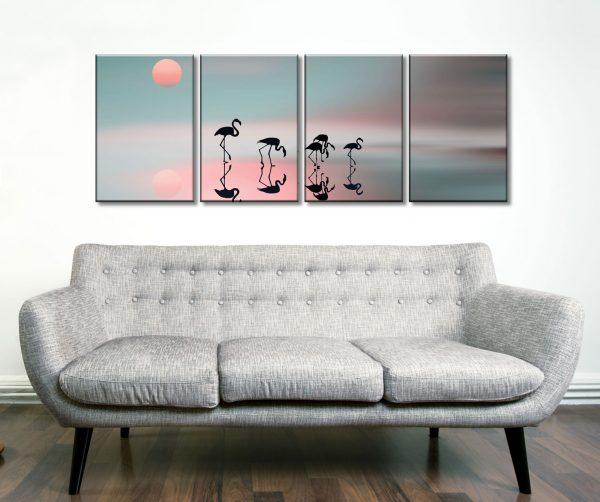 Family flamingos 4 Piece Artwork Wall Prints