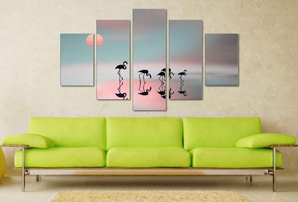 Family Flamingos Five Panel Wall Prints