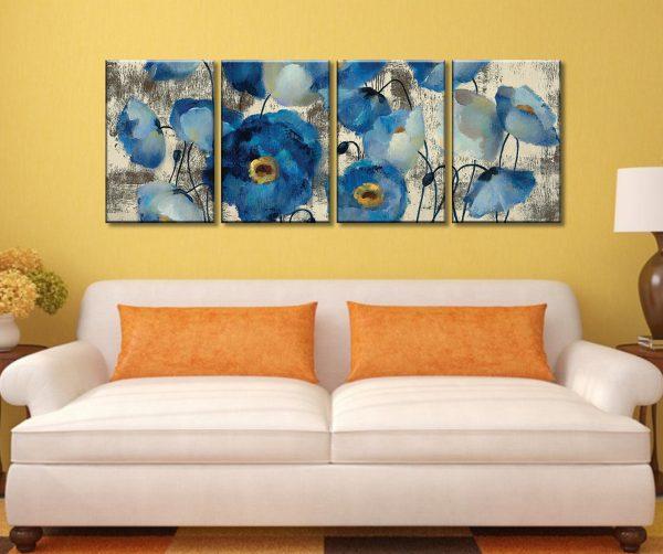 Aquamarine Four Piece Artwork Canvas Wall Art