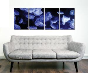 Jellyfish 4 Piece Canvas Art Photo
