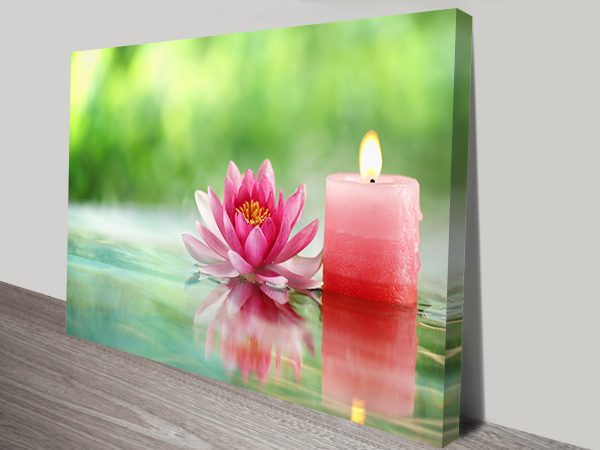 Calming Pink Candle And Lotus Flower