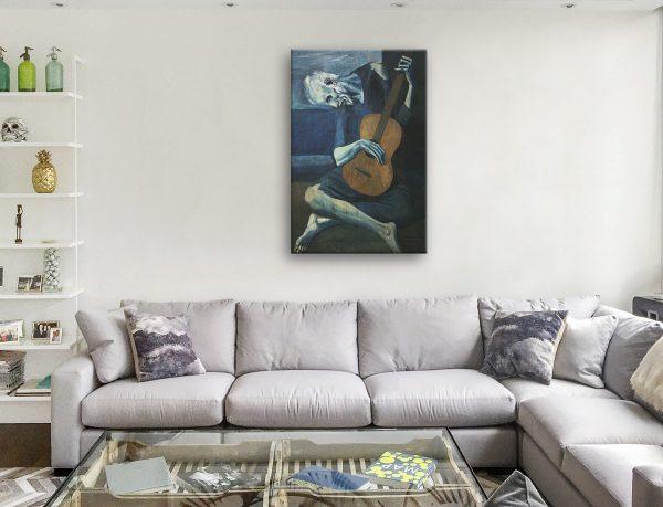 Old Guitarist Chicago Picasso Art Print