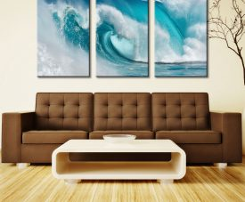 When The Ocean Turns Into Blue Fire Three Piece Artwork Canvas Photos