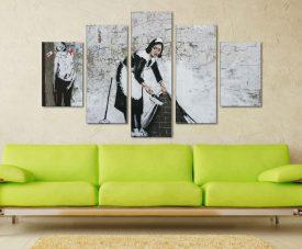 Banksy Keeping It Spotless Five Panel Canvas Printers