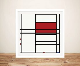 Piet Mondrian Composition of Red and White Wall Art Print Australia