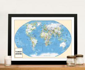 Adventurer Push Pin World Map Framed Picture Art