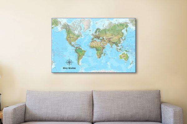 Affordable Personalised Push Pin Map Artwork