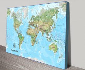 Buy a Bespoke Atlantis Push Pin Map on Canvas