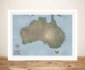 Custom Words Australia Map Framed Wall Art