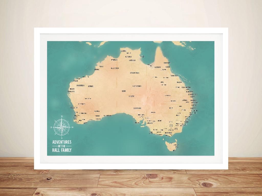 Australia Map Art.Australia Map Art Teal