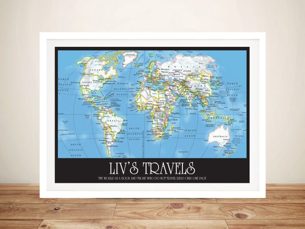Personalised Travel map Framed Wall Picture