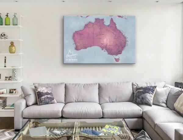 Magenta World Push Pin Map Art Board Australia