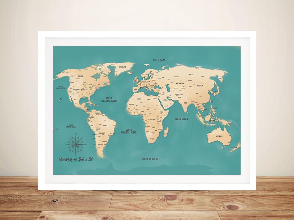 *Push Pin World Map - Teal