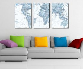 Blue World Map Triptych Three Piece Artwork Canvas Prints