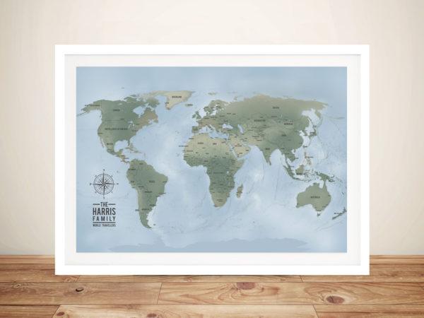 Customised Cyan World Push Pin Map