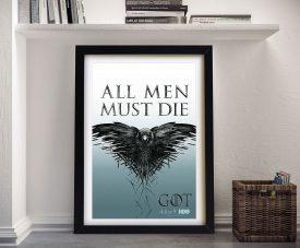 GoT - All Men Must Die Canvas Art Prints