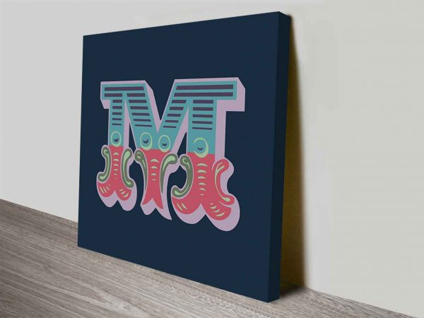 Carnival Letter M Typographic Canvas Prints Wall Art