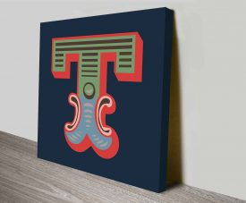 Carnival Letter T Typographic Wall Art Prints