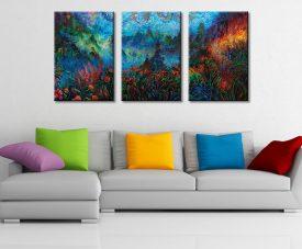 Stormy Splendor Dragon Ember Triptych Art
