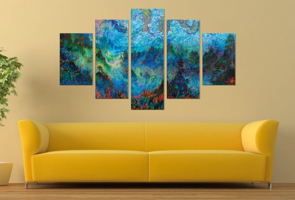 Stormy Splendor Dragon Ember 5 Piece Wall Art