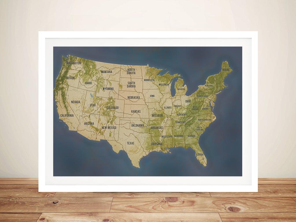 Personalised Charcoal Usa Push Pin Travel Map Framed Wall Art Print Au