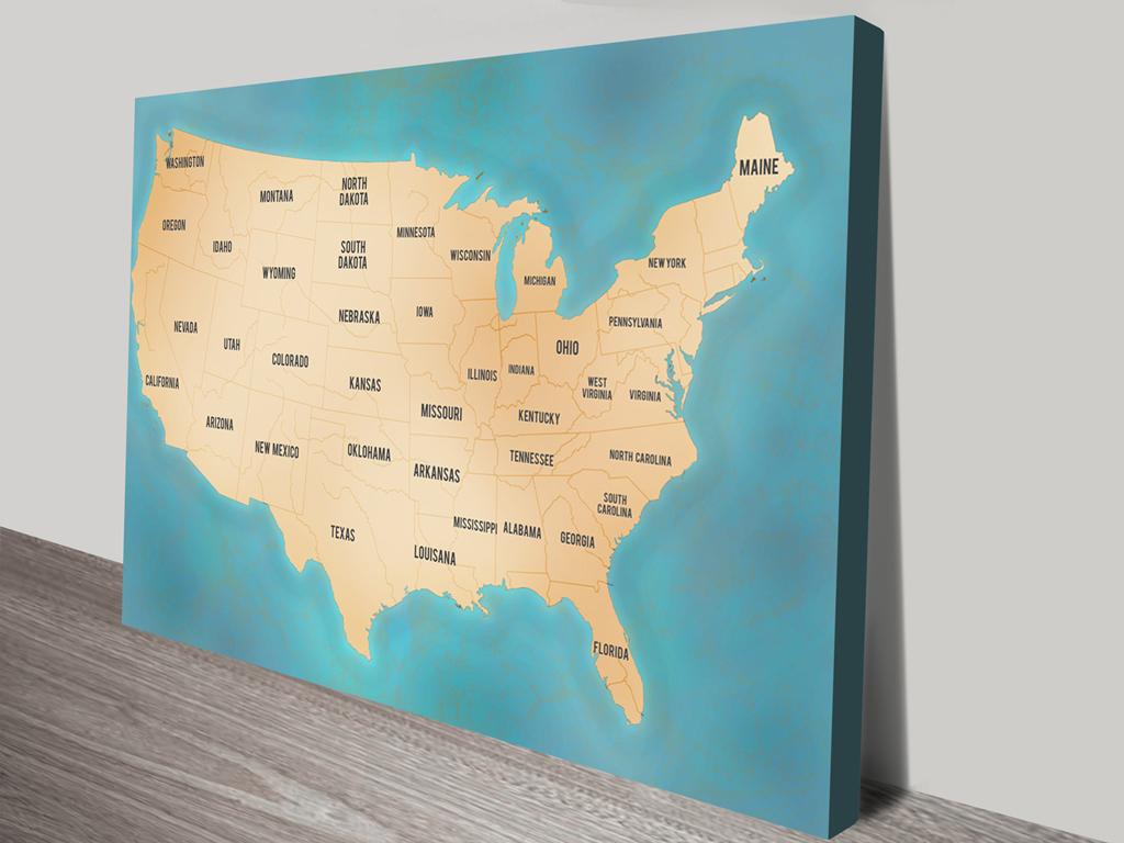 Awesome Usa Map Wall Art Ornament