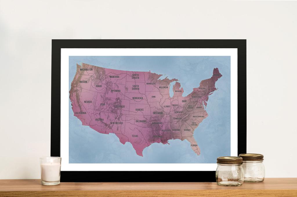 Personalised Usa Push Pin Travel Map Framed Wall Art Print Au