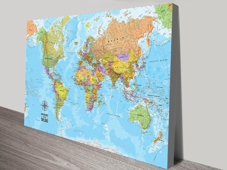 Bespoke World Travel Push Pin World Map Canvas Artwork Sydney