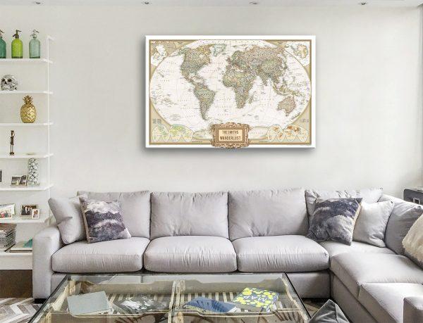 Push Pin World Map Art Australia