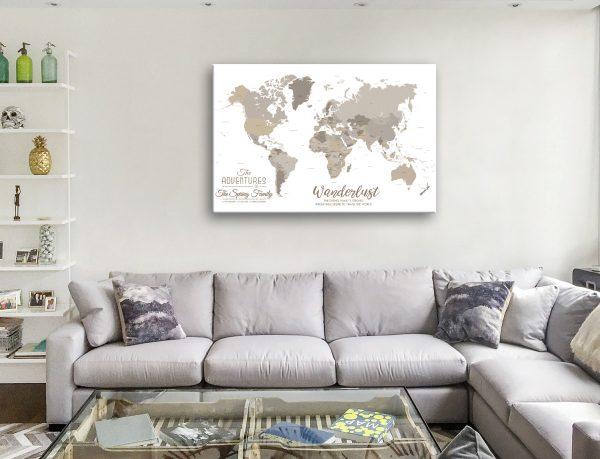 bronze watercolour pin map Canvas Melbourne