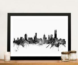 Melbourne Black & White Skyline Watercolour