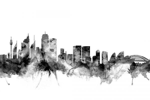 Sydney Black & White Skyline Watercolour Art