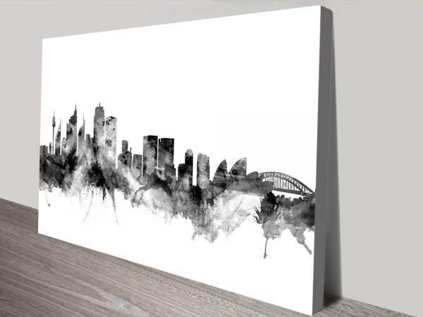 Sydney Black & White Skyline Watercolour Michael Tompsett Wall Art Print