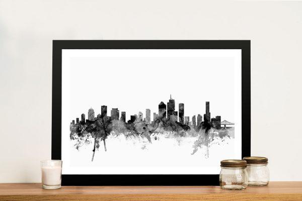 Brisbane Black & White Skyline Watercolour Art Michael Tompsett Wall Print