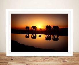 Sunset Elephants Photo on Canvas
