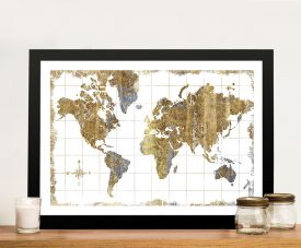 Gold Gilded World Map Canvas