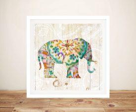 Boho Paisley Elephant l - Danhui Nai Wall Prints