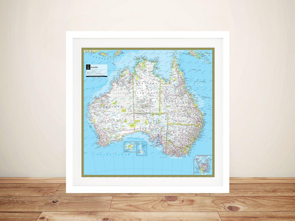 Australia Atlas Map Wall Art Canvas Art Prints & Posters Sydney ...