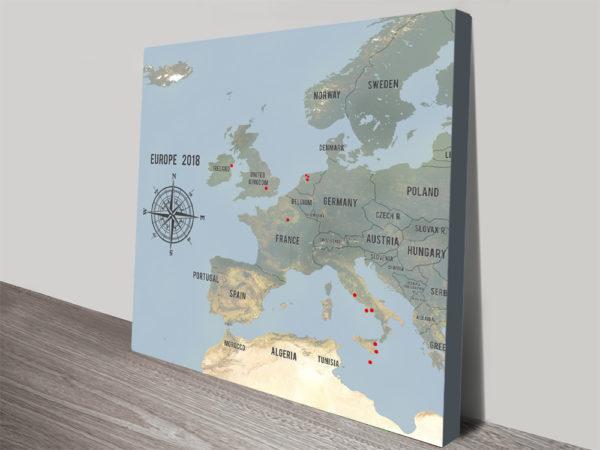 Custom Western Europe Map Cyan Framed Push Pin Wall Artwork