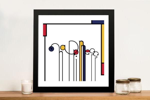 Futuracha - Happiness Mondrian Typography Pop Art