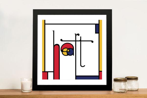 Futuracha - Heart Mondrian Typography Canvas Prints
