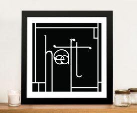 Futuracha - Heart Typography B&W Gift Ideas