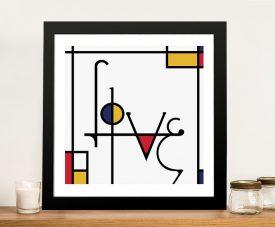 Futuracha - Love Mondrian Typography Canvas Prints Online