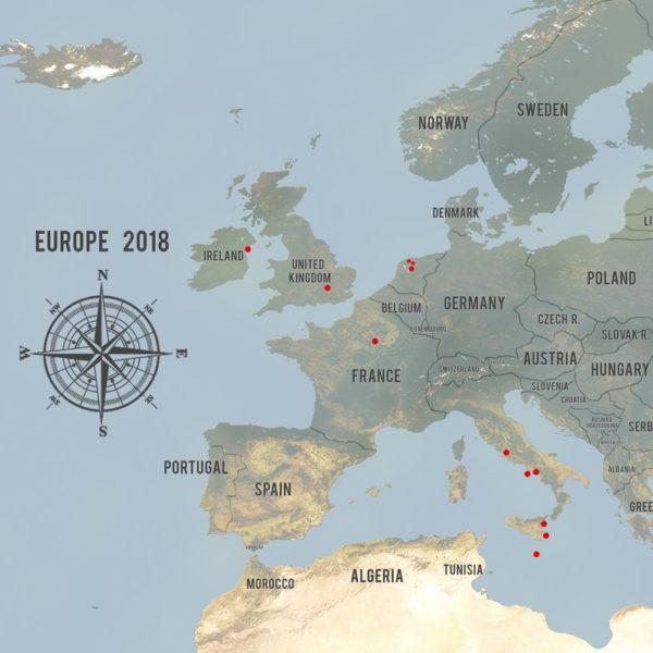 Custom Western Europe Map Cyan Framed Push Pin Wall Canvas