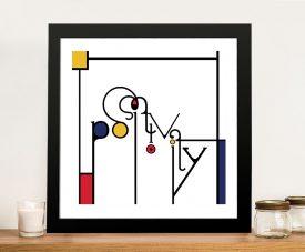 Futuracha - Positivity Mondrian Typography Wall Pictures