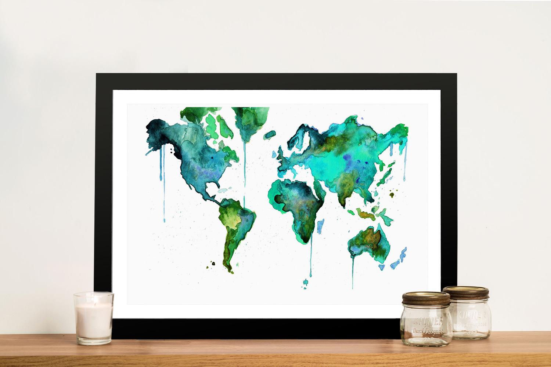 World Map Framed Wall Art.Green Watercolours World Map Canvas Poster Picture Art Print Australia