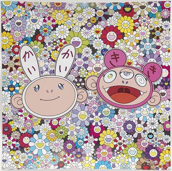 Eye Catching Japanese Anime Canvas Prints Kaikai & Kiki Dreaming of Shangri-La By Takashi Murakami