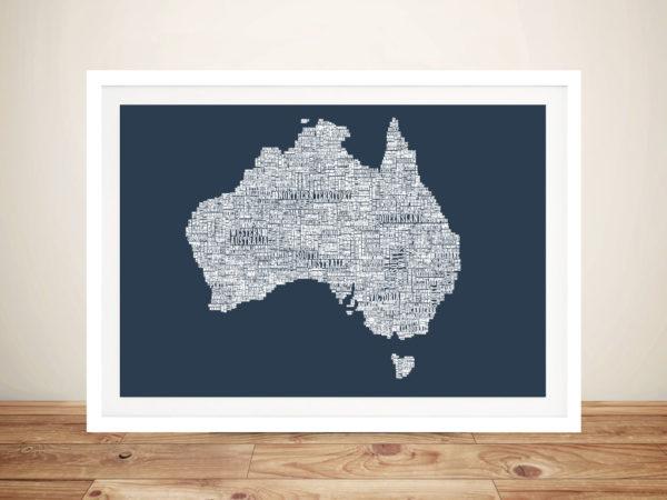Australia Type Map Framed Wall Art