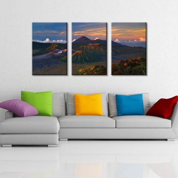 Volcano Dawn Triptych Wall Art